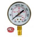 Manómetro de salida de 0 a 28 Kg /cm2 (400 PSI) OXÍGENO